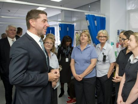 Health Minister Cameron Dick entertains the staff at the new Endoscopy Unit at Toowoomba Hospital.