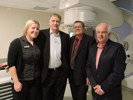 Oceania Oncology chief radiologist therapist Claire Smith, director Dr Leon Gouws, state member Ted Sorensen and director Irwin Strous. Photo: Fraser Coast Chronicle/Hannah Baker
