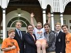 St Mary's College students held a free dress day to raise money for family of boxer Brayd Smith who died earlier this year. From left; Lachlan Whitaker, Reiley Mason, James O'Shea, Noah Shepherdson, Tanner Smith, Brandon Spain, Kaleb Braham. The day was organised by Noah Shepherdson. Photo Bev Lacey / The Chronicle