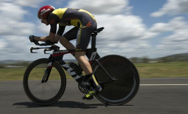 Budget Forklifts team member Jack Anderson competing in this year's Oceania Championships individual time trial at Helidon.