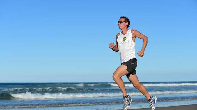 Ultramarathon runner John Pearson trains at Coolum Beach