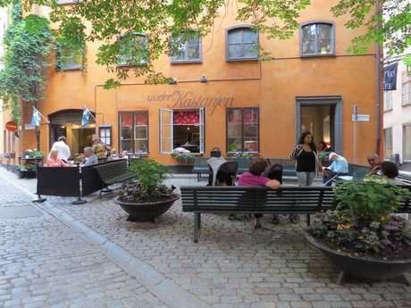 A quaint cafe in the old town of Stockholm.
