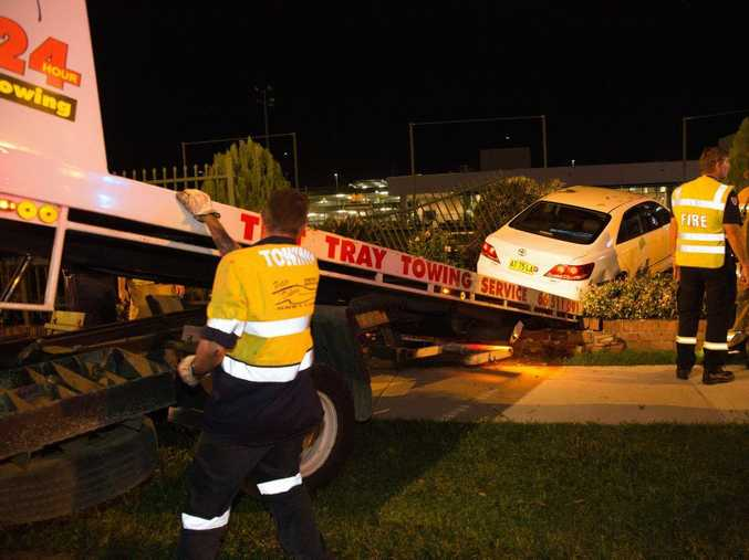 A Toyota Aurian veered off the Pacific Highway and ploughed through a fence near the bowling green at C.ex Coffs. 20 MAY 2015 Photo Gemima Harvey/Coffs Coast Advocate