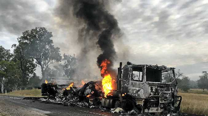 TOTAL DESTRUCTION: The cause of a fire that destroyed a refrigerated truck on Sunday morning is unknown.