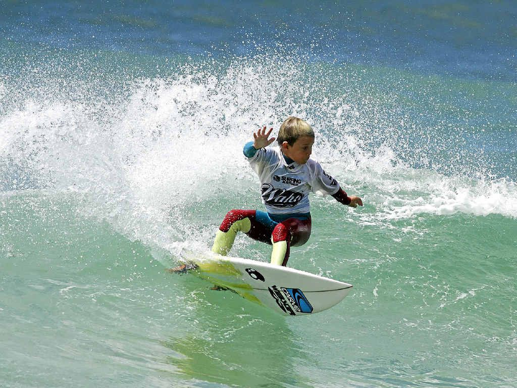 A GROM TO WATCH: Lennox Head surfer Jack O'Brien won the under-12 division at the Far North Coast regional surfing titles at the weekend.
