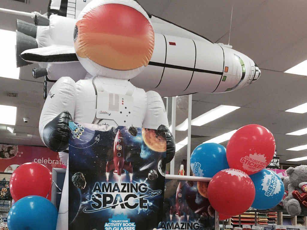 The Amazing Space display at Sydney Street Markets Newsextra Newsagency.