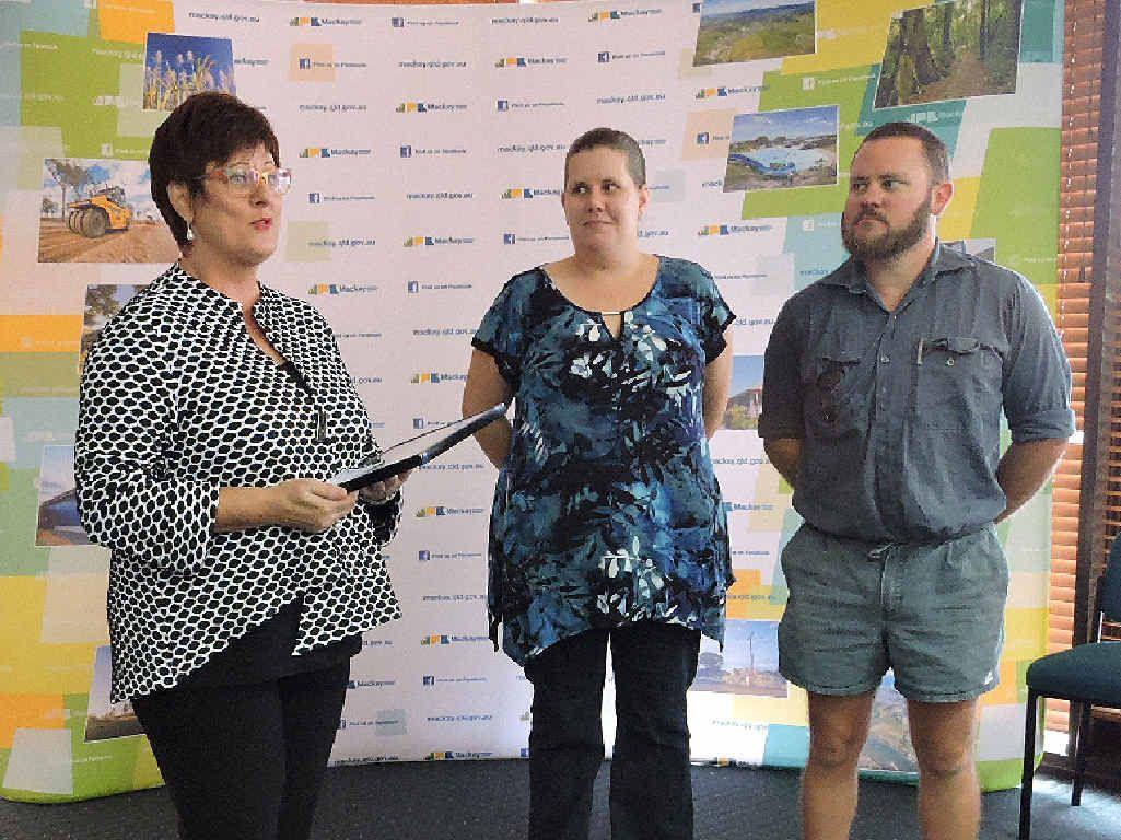 Mayor Deirdre Comerford presents awards to Lenita and Jamie Stewart.