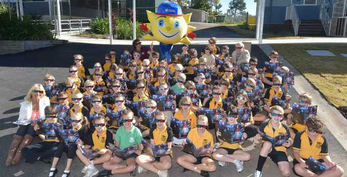 WATCH THIS SPACE: Woombye State School Year 3 students, pictured with Sunny the Sunshine Coast Daily mascot, are studying space this year and are very excited about the Daily's Amazing Space promotion.