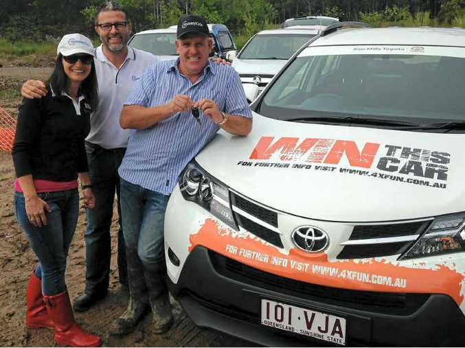 HELPING SUNNYKIDS: SunnyKids' Rachael Witton and CEO Chris Turner with Cr Jason O'Pray at the test day.