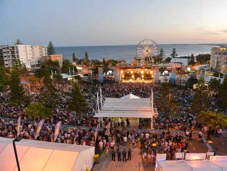 Caloundra Music Festival 2014, Sunday: Overhead shot of the crowd taken from a cherry picker just after sunset while James Reyne was playing on the main stage. Photo: Brett Wortman / Sunshine Coast Daily