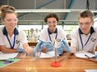 YOUNG EINSTEINS: Evans River science students Georgia Hart, Alex Barker and Connor Drechsler test out the facilities during the study day at Southern Cross University.