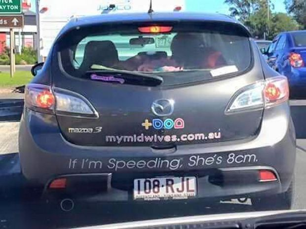 A photo of Toowoomba midwife Ros Beard's car has gone viral on the internet.