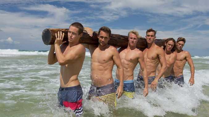 Ironmen Tanyn Lyndon, Ky Hurst, Matt Bevilacqua, Matt Poole, Ali Day and Kendrick Louis in Deep Water USA.