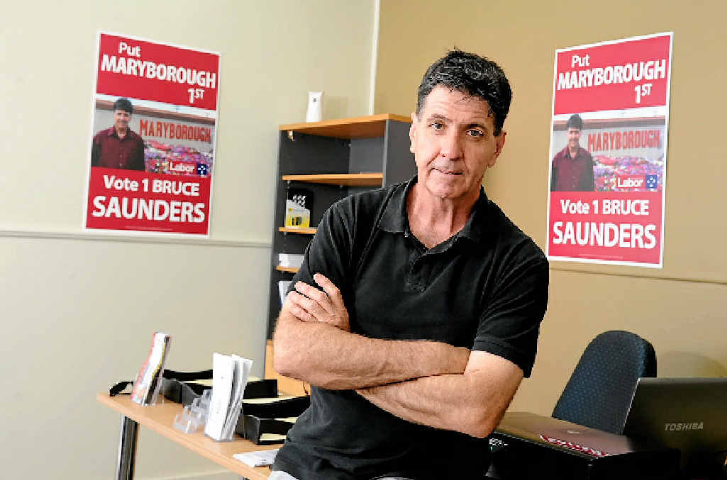 ELECTED: Labor Member Bruce Saunders in his Maryborough campaign office earlier this year.INSET: Mr Saunders delivering his maiden speech.