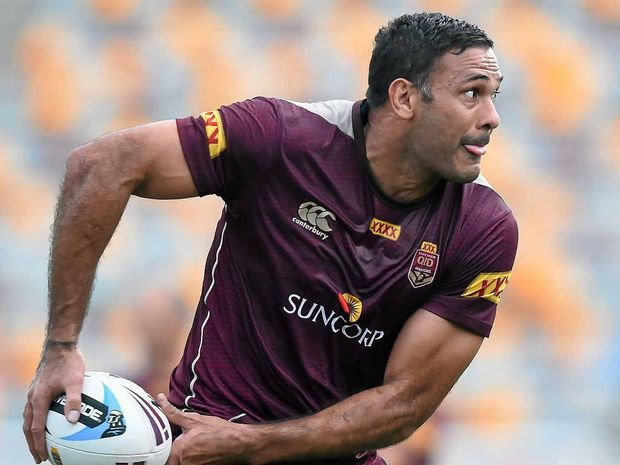 SWANSONG: Justin Hodges takes part in training for the Maroons yesterday.