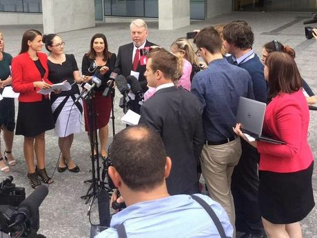 Bruce Morcombe is surrounded by reporters after the Court of Appeal rejected an appeal by Daniel's killer.