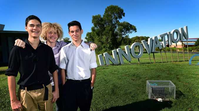 BRIGHT FUTURE: 3D app Holographic Estate co-founders Hamish Caulfield (left), Mackenzie Reardon and Sean Phillips, all 16. Their business idea for a 3D app aimed at providing prospective home owners with a way of visualising how their furniture would fit in a property was developed through the inaugural GI Challenge in 2015.