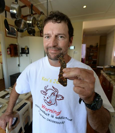 Kev Steele's jerky has attracted interest from Chinese buyers after setting up a stall at the recent Beef Australia event in Rockhampton. Photo: Chris Ison / The Morning Bulletin