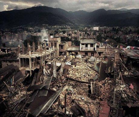 IN RUINS: Photograph taken by Bangalow GP Bronwyn Hudson showing the devastation in Kathmandu, Nepal.