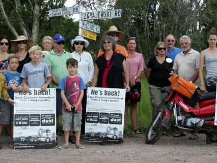 NOT HAPPY: Local residents believe a quarry at Yandina Creek should not have been approved, but have lost their legal bid to block it.