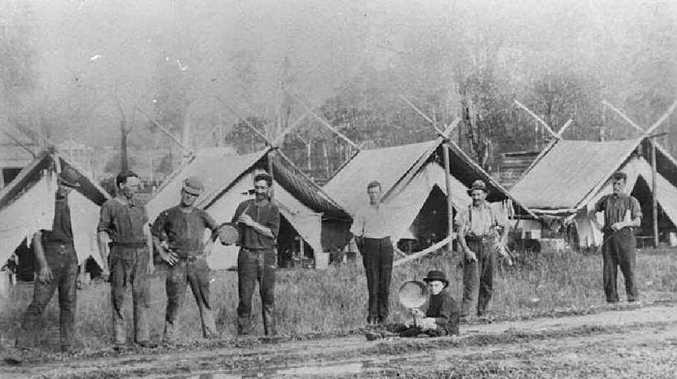 The Railway Fettlers' Camp at Eudlo in 1914.