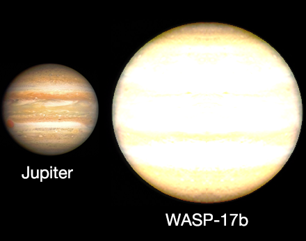 Jupiter compared to an artist's impression of exoplanet WASP-17b.