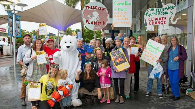 Members of the Coffs Coast Climate Action Group and local residents call on the CommBank to refuse funding for coal projects. 21 MAY 2015