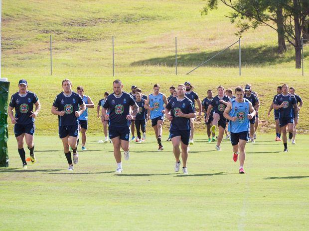 Blues State of Origin team at the Elite Training Centre.