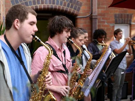 Students of the Youth Jazz Orchestra performing for the crowd during the music marathon at the Northern Rivers Conservatorium.