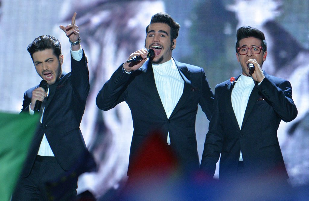Il Volo representing Italy perform the song'Grande Amore during the final of the Eurovision Song Contest in Austria's capital Vienna.