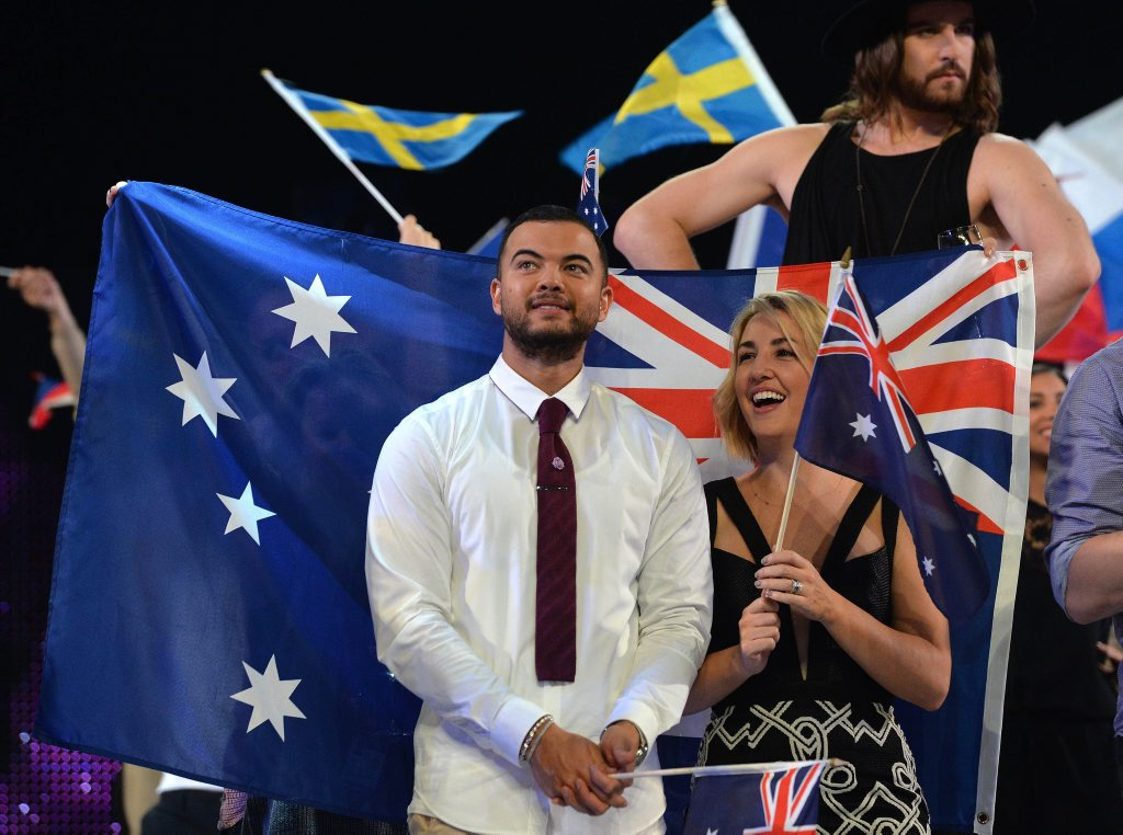 Guy Sebastian, centre, representing Australia waits for the voting to start with his wife Jules during the final of the Eurovision Song Contest in Austria's capital Vienna.