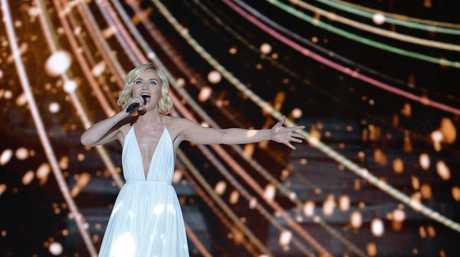 Polina Gagarina representing Russia performs the song A Million Voices during the final of the Eurovision Song Contest in Austria's capital Vienna.