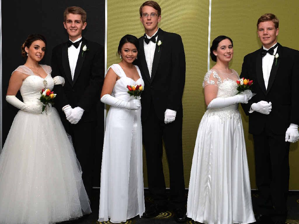 Alexis DiBenedetto, Zed Kretschmer, Leira Albarracin, Harry Chisholm, Evangeline Barfield and Jacob Williams at the Catholic Debutante Ball.