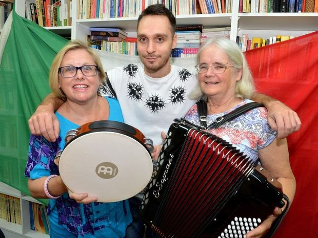 Kirstie Webster, Lorenzo Coniglio and Carolyn Bates are ready to perform with the newly formed Italian choir.