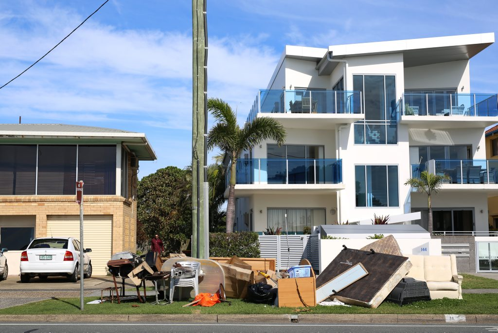 Rubbish piled outside a complex waiting for collection on Marine Pde in Kingscliff. Photo: Nolan Verheij-Full / Tweed Daily News