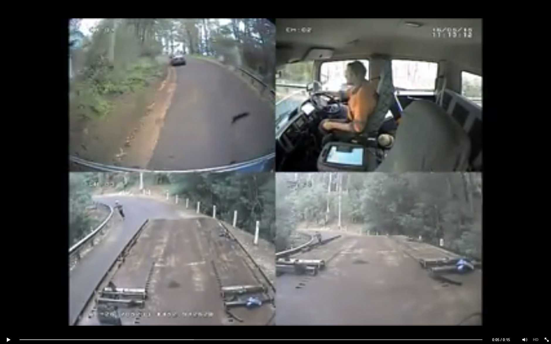 A screenshot of Clayton's Towing dashcam footage of a skateboarder travelling down the range.