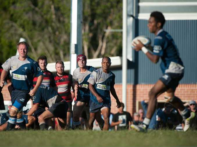 SCU Marlins' Fijian import Taufaga Petueli loads a up pass to fire in the fateful win over Coffs Harbour Snappers.