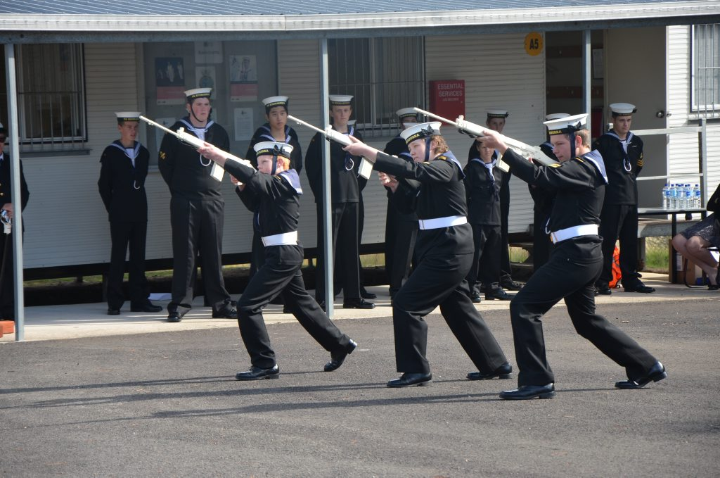 TS Kookaburra Stanthorpe Naval Cadets, demonstrate their drill routine.
