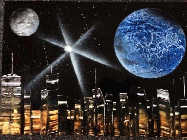 Spray space art by Adam Weller.