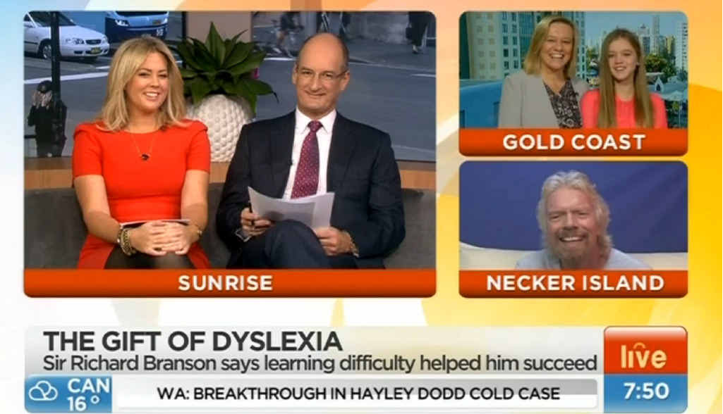 INSPIRATION: Isley Hermansen and her mum Julie appeared on Sunrise alongside Richard Branson and Samantha Armytage and Davie Koch.