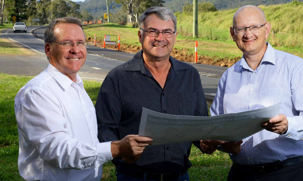 FIXERS: Ipswich West MP Jim Madden and MP Shayne Neumann inspect the works currently underway on the Brisbane Valley Highway near Fernvale with Downer project manager Kent Elssmann