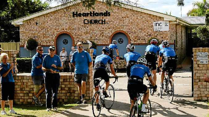 CYCLISTS ARRIVE: Global Care cyclists arrive at Heartlands Church in Casino last month on their 2300km quest.
