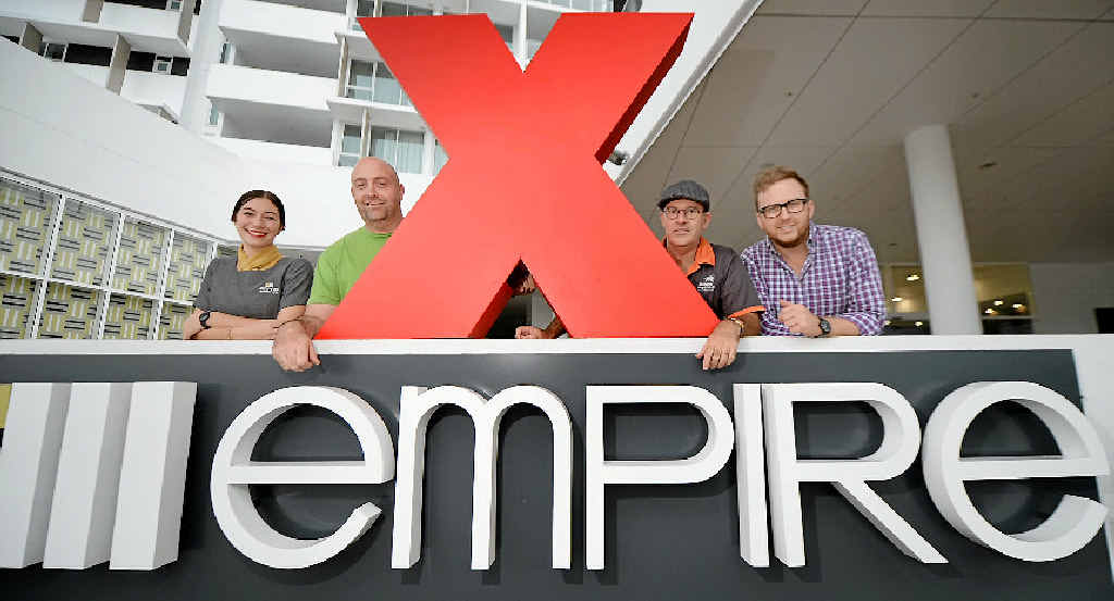 The Empire will be the venue for the upcoming Ted X event. Pictured are L-R Rachael Orth (Empire), Fred Goodwin, Jason Foss (Almost Anything), and Zac Garven (Empire). Photo: Chris Ison / The Morning Bulletin