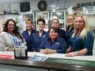 BIRTHDAY BASH: Celebrating Kabra Hotel's birthday are staff members (from left) Vicki Bender, Sarita Magoffin, Shelley Hopes, Kate Best (front), Lana Bissett, Caitlin Svensen and Joe Lidster.