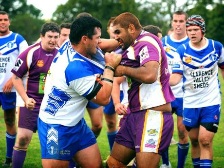 Ghosts Nat Sewell (left) and Rhinos Dwayne Duke during the local derby at Frank McGuren Oval in Grafton.