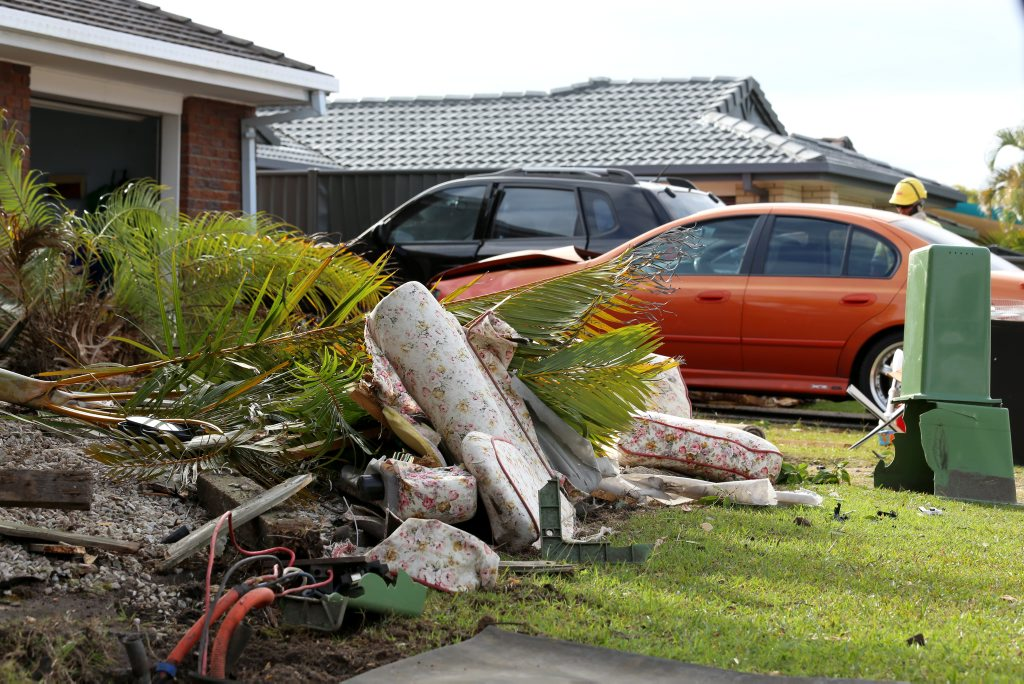 The crash on Woodlands Drive in Banora Point. Photo: Nolan Verheij-Full / Tweed Daily News
