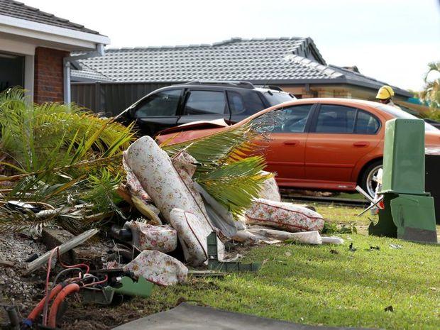The crash on Woodlands Drive in Banora Point. Photo: Nolan Verheij-Full / Tweed Daily News
