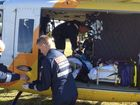 CareFlight crew assisting the woman who fell from a horse. Photo Contributed