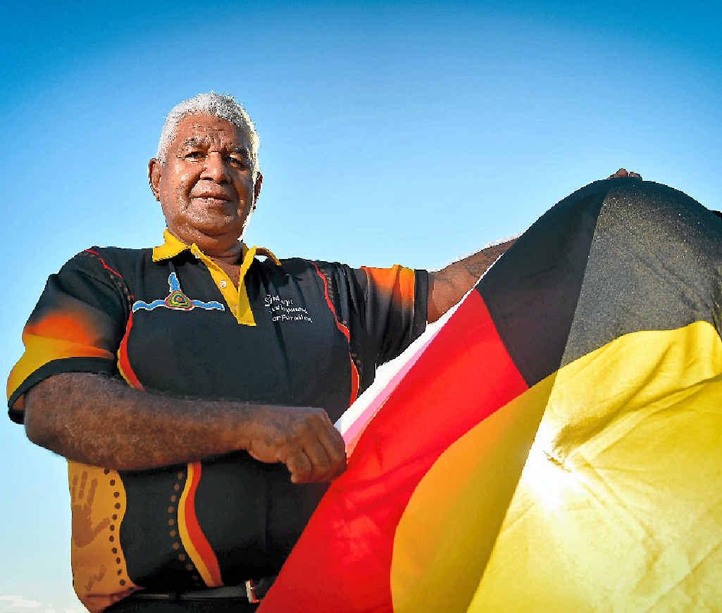REFLECTIVE: Goreng Goreng Aboriginal elder Richard Johnson likes the Aboriginal flag for its simplicity and cultural heritage.