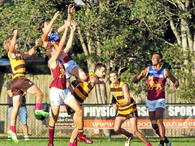 RISING STAR NOMINEE: Brisbane's Eric Hipwood, a former Caloundra Panther, flies high against Aspley last Saturday.